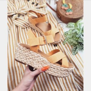 🆕️//Santorini Sunrise// Yellow wedge Espadrille